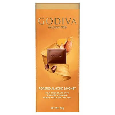 Godiva Belgian Roasted Almond & Honey Milk Chocolate 90g