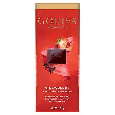 Godiva Strawberry Dark Chocolate With a Twist of Pink Pepper 90g