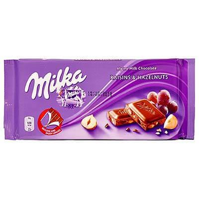 Milka Raisin & Hazelnut Alpine Milk Chocolate 100g