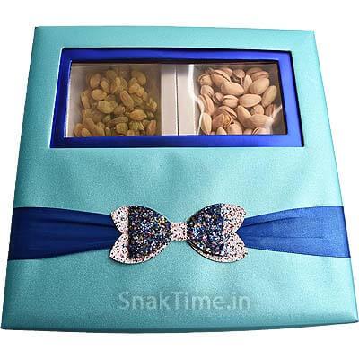 Blue Bow Window Dry Fruit Gift ST1099X9