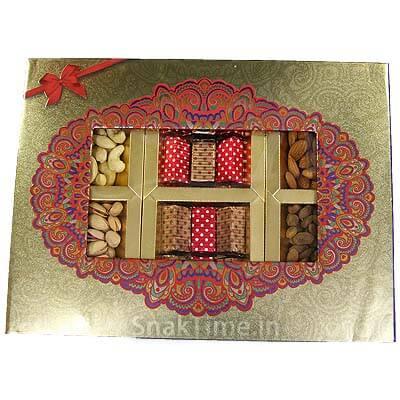 Golden Window Corporate Diwali Dry Fruit Chocolate Combo Gift STN968X12C
