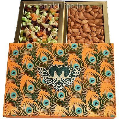 Orange Peacock Diwali Dry Fruit Gift STDFB267O