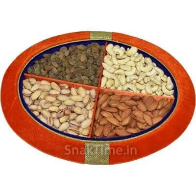 Orange Velvet Dry Fruit Gift Tray STDFT125O
