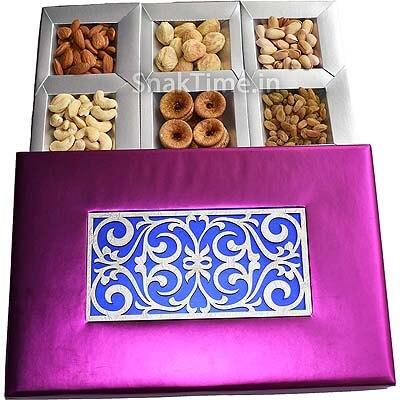 Purple Silver Art Diwali Dry Fruit Gift ST1158X12