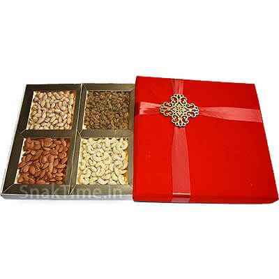 Red Bow Velvet Diwali Dry Fruit Gift ST11212X12