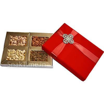 Red Bow Velvet Diwali Dry Fruit Gift ST1128X11