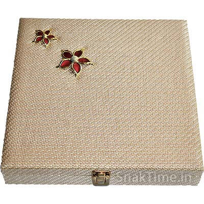 Red Flower Wooden Diwali Dry Fruit Gift STDFB22012X12
