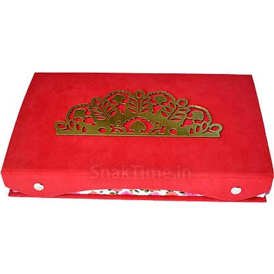Red Velvet Wooden Dry Fruit Gift STDFB202